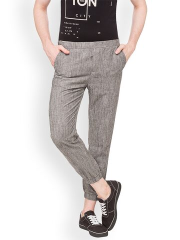 Globus Men Grey Slim Fit Solid Joggers Globus Trousers at myntra