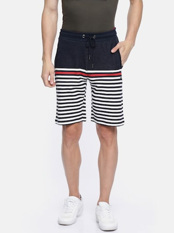 Proline Active Men Navy & White Striped Regular Fit Sports Shorts Proline Active Shorts at myntra