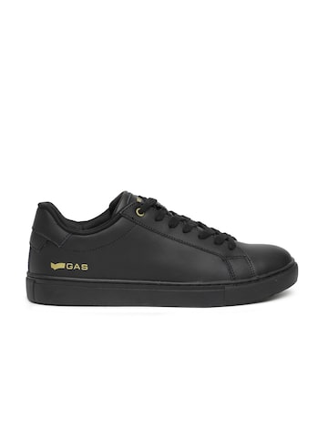 GAS Men Black DNA Leather Sneakers GAS Casual Shoes at myntra