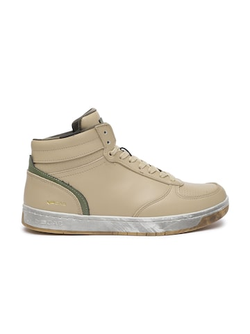 GAS Men Khaki Perforations Leather ROLY  Mid-Top Sneakers GAS Casual Shoes at myntra