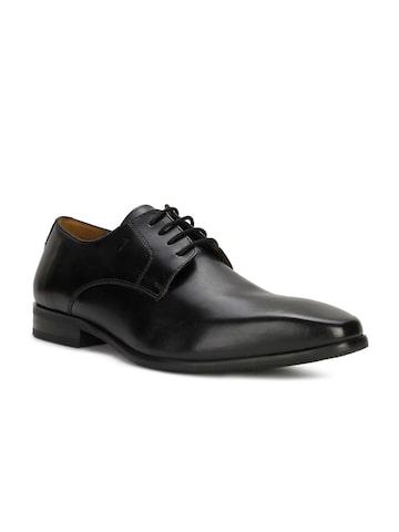 Van Heusen Men Black Formal Leather Derby Shoes Van Heusen Formal Shoes at myntra