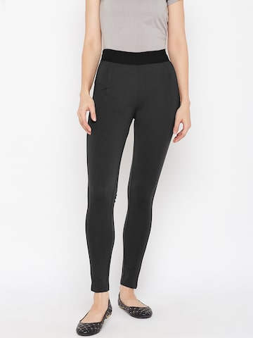 Xpose Charcoal Grey Skinny Fit High-Rise Treggings Xpose Jeggings at myntra