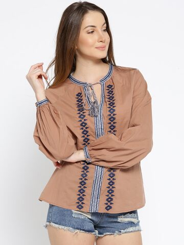 I AM FOR YOU Women Brown Embroidered Top I AM FOR YOU Tops at myntra