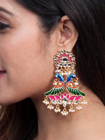 Rubans Gold-Toned & Multicoloured Peacock Shaped Chandbalis Rubans Earrings at myntra