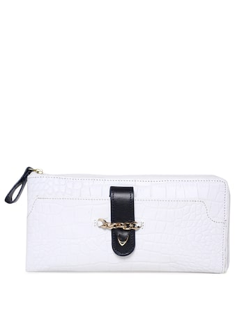 Hidesign Women White Textured Zip Around Wallet Hidesign Wallets at myntra