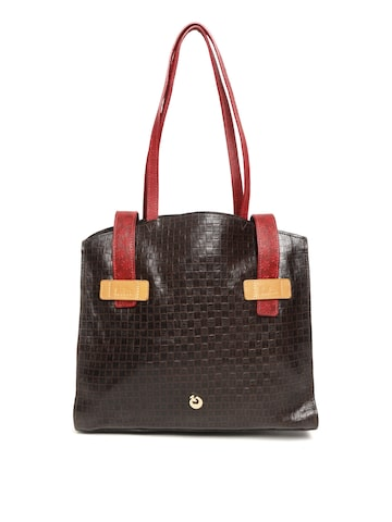 Holii Coffee Brown Leather Textured Shoulder Bag Holii Handbags at myntra