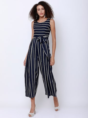 Tokyo Talkies Navy Blue & White Striped Culotte Jumpsuit Tokyo Talkies Jumpsuit at myntra