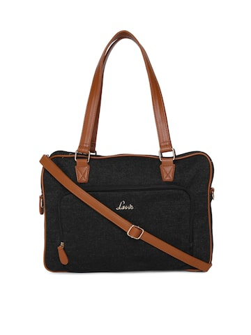 Lavie Black Solid Shoulder Bag Lavie Handbags at myntra