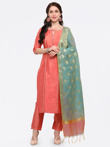 Inddus Peach-Coloured & Blue Unstitched Dress Material Inddus Dress Material at myntra