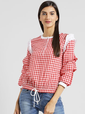 Texco Women Red Checked Blouson Top Texco Tops at myntra