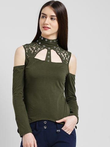 Texco Women Olive Green Solid Styled Back Top Texco Tops at myntra