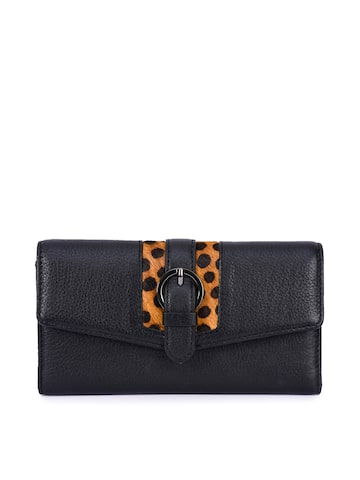 Phive Rivers Women Black Solid Leather Two Fold Wallet Phive Rivers Wallets at myntra