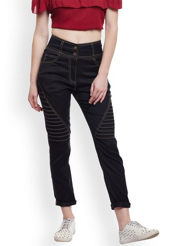 Castle Women Black Smart Skinny Fit Solid Cigarette Trousers Castle Trousers at myntra