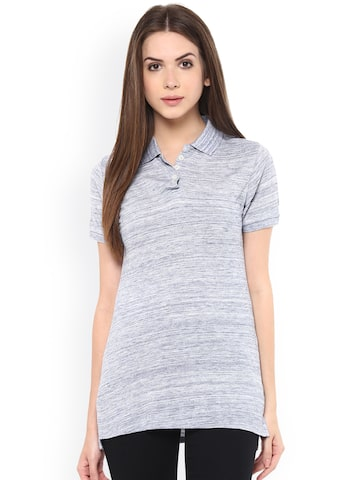 TshirtCompany Women Blue Solid Polo Collar T-shirt TshirtCompany Tshirts at myntra
