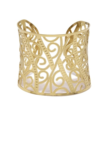Golden Peacock Gold-Plated Stainless Steel Cuff Bracelet Golden Peacock Bracelet at myntra
