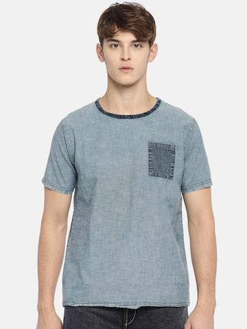 Indigo Nation Street Men Blue Solid Round Neck T-shirt Indigo Nation Street Tshirts at myntra