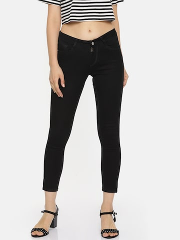 Kraus Jeans Women Black Skinny Fit Mid-Rise Clean Look Stretchable Crop Jeans Kraus Jeans Jeans at myntra