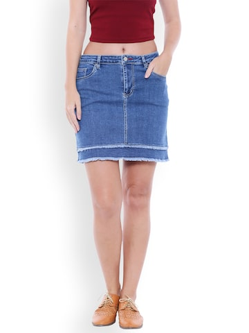 TARAMA Blue Denim Skirt TARAMA Skirts at myntra