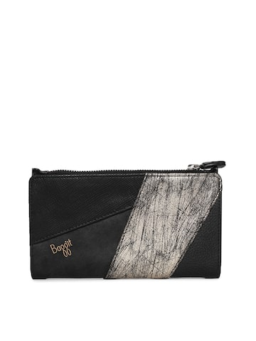 Baggit Women Black & Grey Colourblocked Zip Around Wallet Baggit Wallets at myntra