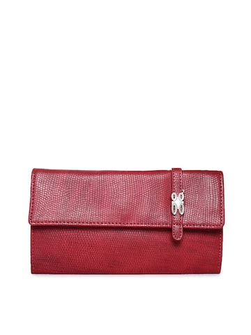 Baggit Women Maroon Solid Three Fold Wallet Baggit Wallets at myntra