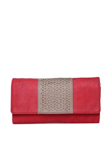 Baggit Women Red & Beige Colourblocked Two Fold Wallet Baggit Wallets at myntra