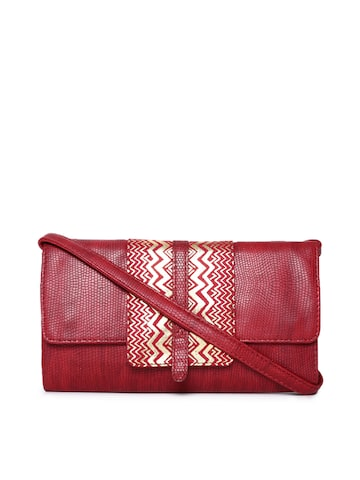 Baggit Women Red Textured Two Fold Wallet Baggit Wallets at myntra