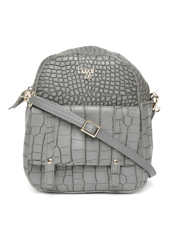 Baggit Women Grey Croc Textured Backpack Baggit Backpacks at myntra