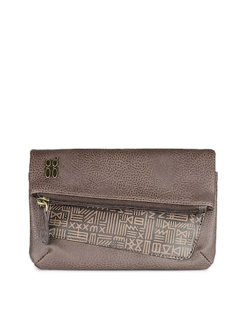 Baggit Women Brown Textured Two Fold Wallet Baggit Wallets at myntra