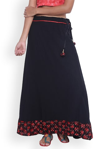 9rasa Black Printed Maxi Skirt 9rasa Skirts at myntra