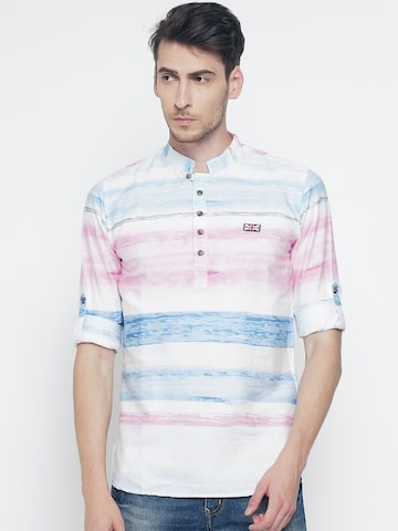 The Indian Garage Co Men Blue Printed Straight Kurta The Indian Garage Co Kurtas at myntra