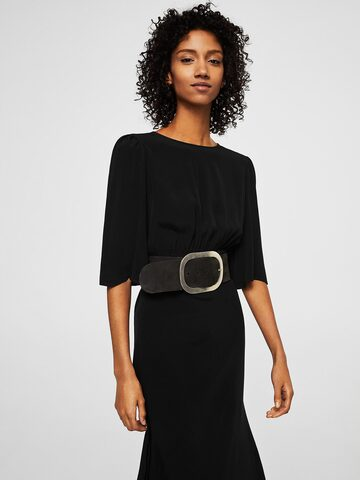 MANGO Women Black Solid Midi A-Line Dress MANGO Dresses at myntra