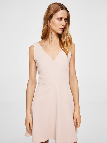 MANGO Women Peach-Coloured Solid Fit and Flare Dress MANGO Dresses at myntra