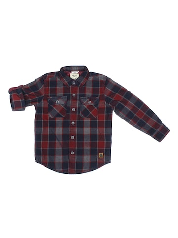Allen Solly Junior Boys Navy Blue & Maroon Regular Fit Checked Casual Shirt Allen Solly Junior Shirts at myntra