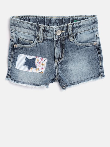 United Colors of Benetton Girls Blue Washed Regular Fit Denim Shorts United Colors of Benetton Shorts at myntra