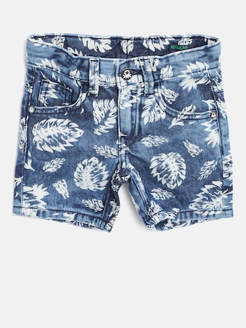 United Colors of Benetton Boys Blue Printed Regular Fit Denim Shorts United Colors of Benetton Shorts at myntra