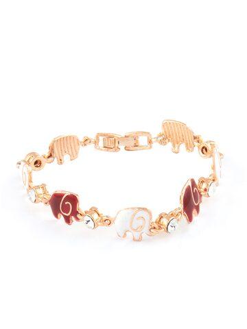Mahi Rose Gold & Red Brass Rose Gold-Plated Enamelled Link Bracelet Mahi Bracelet at myntra