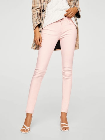 MANGO Women Pink Regular Fit Mid-Rise Clean Look Stretchable Jeans MANGO Jeans at myntra