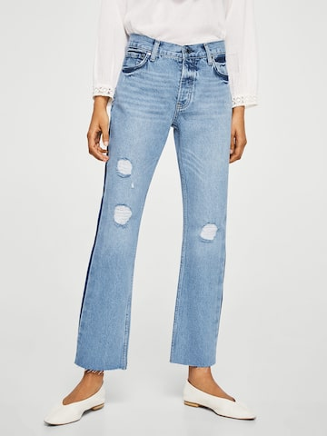 MANGO Women Blue Straight Fit Mid-Rise Low Distress Jeans MANGO Jeans at myntra