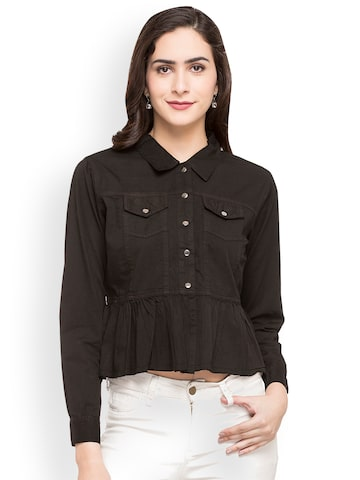 Globus Women Black Regular Fit Solid Casual Shirt Globus Shirts at myntra