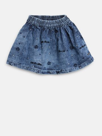 Gini and Jony Girls Blue Embroidered Washed Denim A-Line Skirt Gini and Jony Skirts at myntra