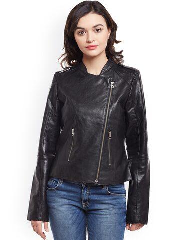 BARESKIN Women Black Solid Lightweight Leather Jacket BARESKIN Jackets at myntra