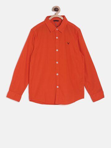 Allen Solly Junior Boys Orange Regular Fit Solid Casual Shirt Allen Solly Junior Shirts at myntra