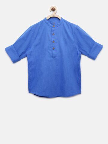 Allen Solly Junior Boys Blue Regular Fit Solid Casual Shirt Allen Solly Junior Shirts at myntra