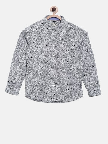 Allen Solly Junior Boys White & Blue Regular Fit Printed Casual Shirt Allen Solly Junior Shirts at myntra
