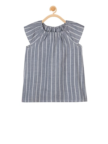 Budding Bees Girls Grey Striped A-Line Top Budding Bees Tops at myntra