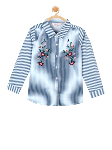 Budding Bees Girls Blue Striped Shirt Style Top Budding Bees Tops at myntra