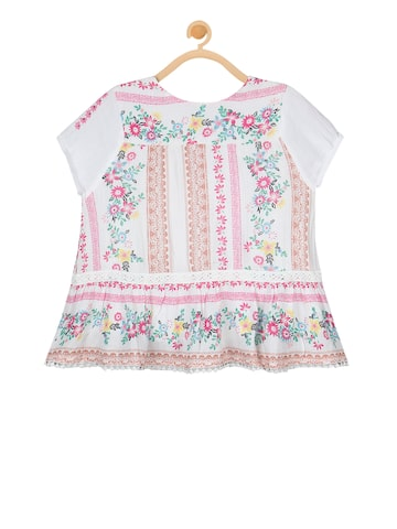 Budding Bees Girls Off-White Printed Top Budding Bees Tops at myntra