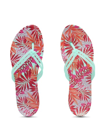 Crocs Women Green & Pink Thong Flip-Flops Crocs Flip Flops at myntra