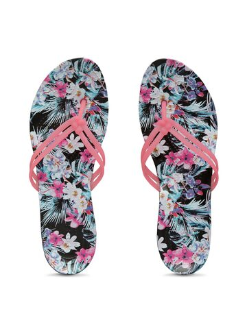 Crocs Women Pink & Black Printed Thong Flip-Flops Crocs Flip Flops at myntra