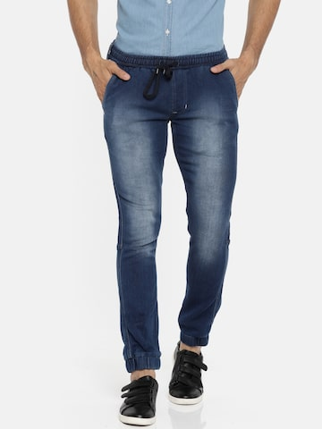 Lee Men Blue Mid-Rise Clean Look Stretchable Jogger Jeans Lee Jeans at myntra